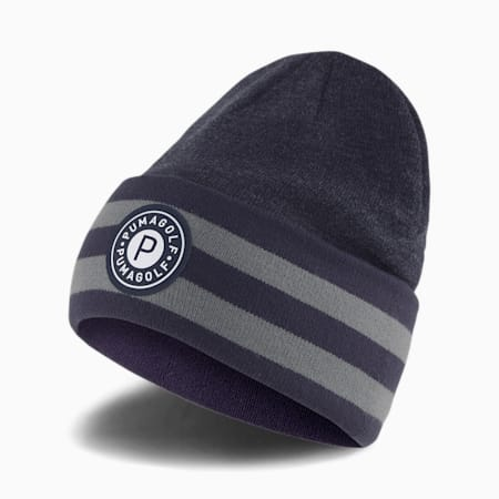 P Circle Patch Men's Golf Beanie, Peacoat, small