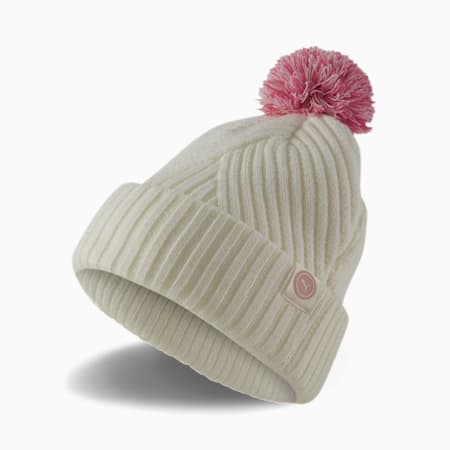 Circle Cat Removable Pom Women's Golf Beanie, Bright White, small