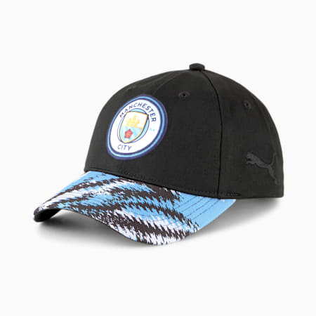 Man City Iconic Archive Baseball Cap, Puma Black-Team Light Blue, small-GBR