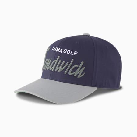 Cappellino da golf da uomo con chiusura a scatto Sandwich City, Peacoat, small