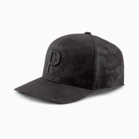 Camo printed P Snapback Men's Golf Cap, Puma Black, small-SEA