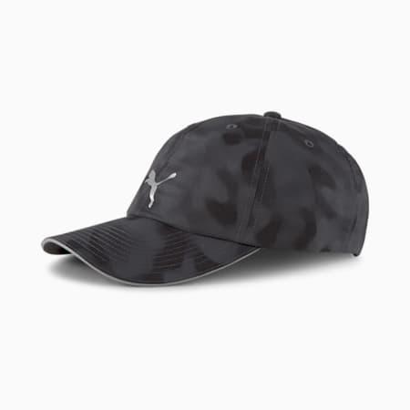 Gorra para correr de secado rápido para mujer, Puma Black-AOP, pequeño