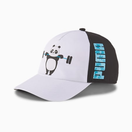 Animal Youth Baseball Cap, Puma White-Puma Black-Panda, small
