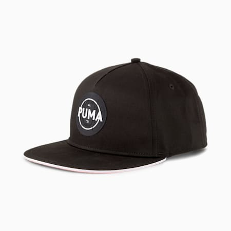 Logo Flat Brim Basketball Cap, Puma Black, small