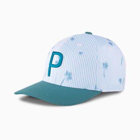 Gorra de béisbolSeersucker P 110 para hombre, Bright White-Ocean Depths, pequeño