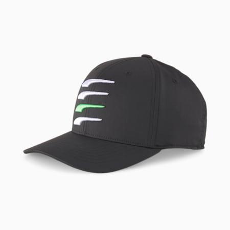 110 Moving Day Snapback Golf Men's Cap, Puma Blk-Brigh Wht-Irish Grn, small