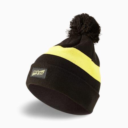 Gorro de lana BVB con pompón, Puma Black-Cyber Yellow, pequeño