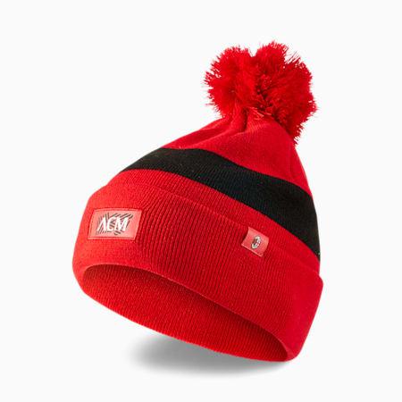 Gorro de lana de fútbol ACM Pom Pom, Puma Black-Tango Red, pequeño
