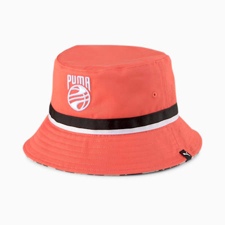 Basketball Bucket Hat, Fiery Coral, small