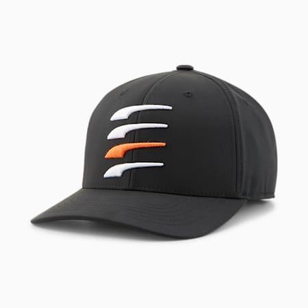 Moving Day Snapback Men's Golf Cap, Puma Black-Bright White-Vibrant Orange, small-GBR