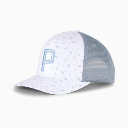 스낵 쉑 P 100 트럭커 스냅백 캡/Snack Shack P 110 Trucker Snapback Cap, Bright White-Placid Blue, small-KOR