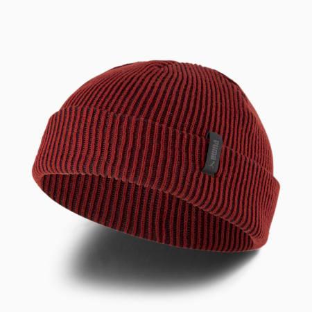 Gorro de lana de pescador acanalado, Intense Red-Puma Black, pequeño