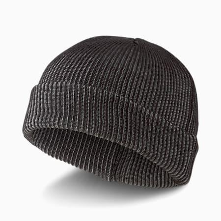 Gorro de lana de pescador acanalado, Puma Black-Medium Gray Heather, pequeño