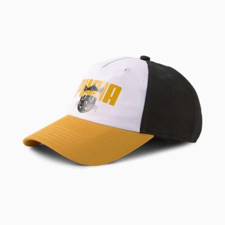 Animals Pinch Panel Youth Baseball Cap, Puma Black-Puma White-Mineral Yellow, small-GBR