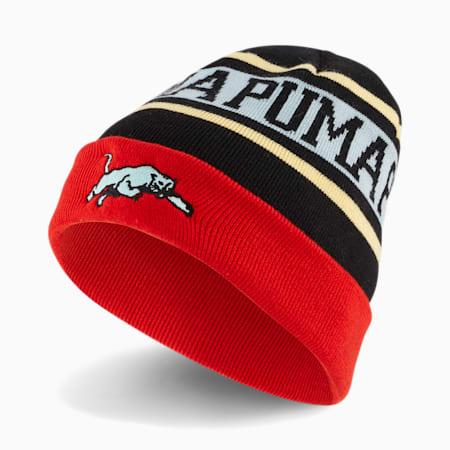 Basketball klassieke beanie, Puma Black-High Risk Red-Eggshell Blue, small