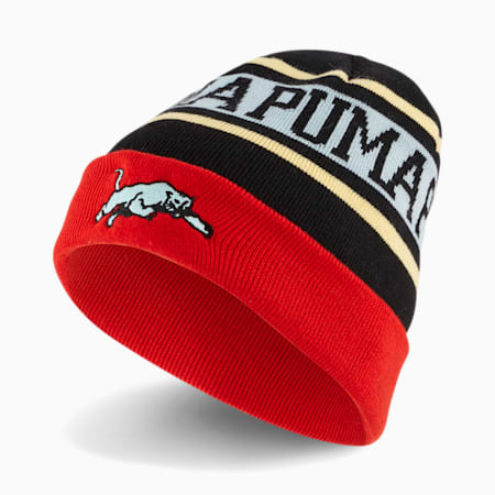 Gorro de lana clásico para básquetbol, Puma Black-High Risk Red-Eggshell Blue, pequeño