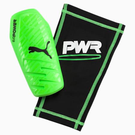evoPOWER 1.3 Slip Shin Guards, Green Gecko-Black-White, small