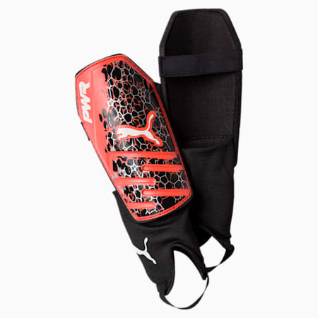 evoPOWER 3.3 Shin Guards, Fiery Coral-Puma Black-White, small-IND