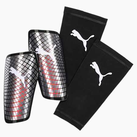 Standalone Shin Guards, Silver-Nrgy Red-White-Black, small-IND