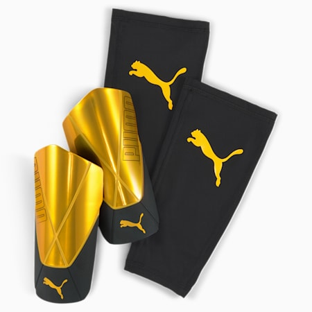 ftblNXT PRO Flex Sleeve Shin Guards, ULTRA YELLOW-Puma Black, small