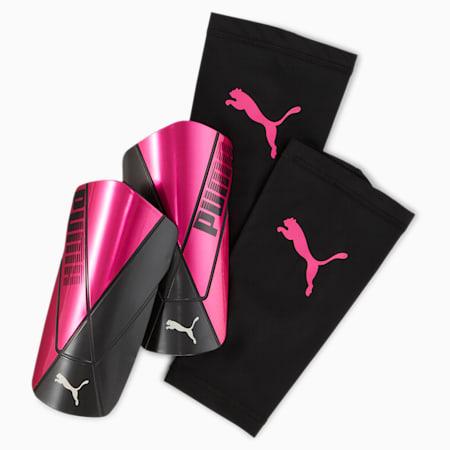 ftblNXT Sleeve Shin Guards, Luminous Pink-Puma Black, small