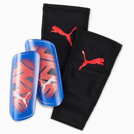 ULTRA Flex Sleeve voetbal scheenbeschermers, Bluemazing-Sunblaze-Puma White, small