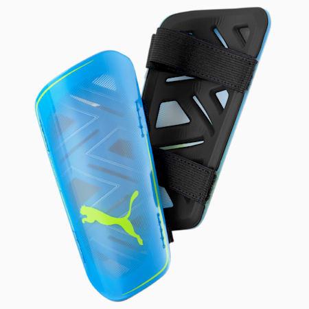 Protège-tibias de football ULTRA Light Strap, Nrgy Blue-Yellow Alert, small