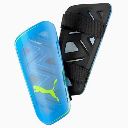 ULTRA Light Strap Football Shin Guards, Nrgy Blue-Yellow Alert, small