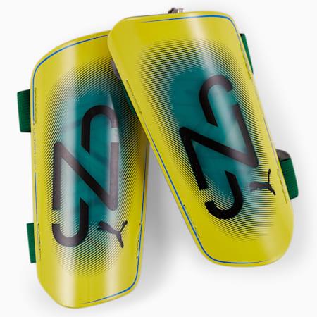 Neymar Jr ULTRA Light Strapped scheenbeschermers, Dandelion-Green-White-Black, small