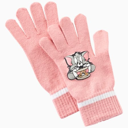 Tom and Jerry Kids Knit Gloves, geranium pink-white, small-IND