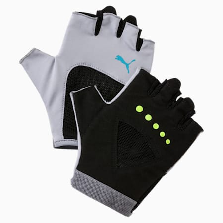 Kid's Gym Gloves, Quarry-Puma Black-Blue Atoll, small-IND