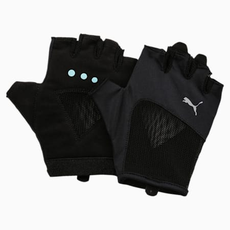 Kid's Gym Gloves, Puma Black-Nrgy Turquoise, small-IND
