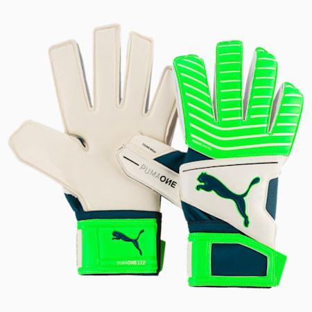 PUMA ONE Grip 17.2 Goalkeeper Gloves, White-Green-Deep Lagoon, small