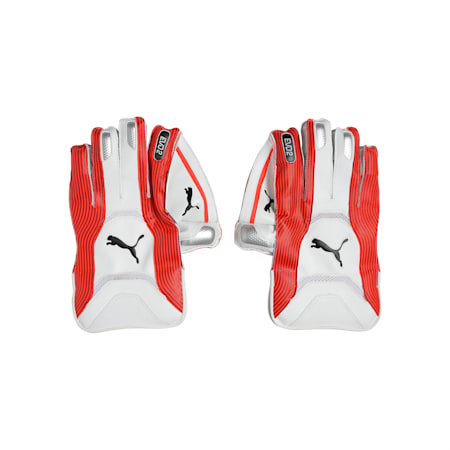 EVO 2 Wicket Keeper glove, Fiery Coral-Puma Black-White, small-IND