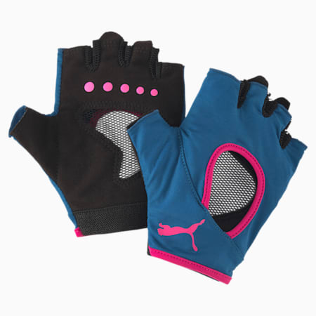 Active Women's Gym Gloves, Digi-blue-Luminous Pink, small