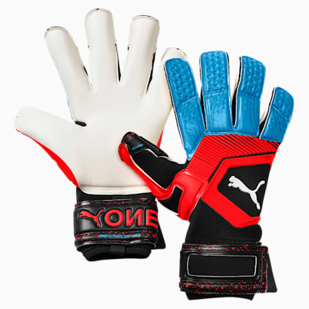 PUMA ONE Grip 1 Hybrid Pro Goalkeeper Gloves, Black-Bleu Azur-Red Blast, small
