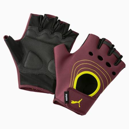 AT  Training Fingered Gloves, Vineyard Wine-Yellow Alert, small