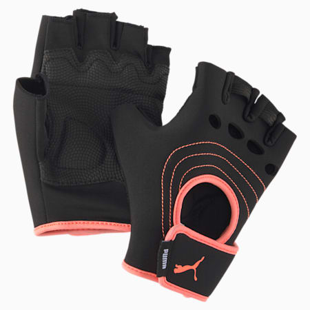 AT  Training Fingered Gloves, Puma Black-Nrgy Peach, small