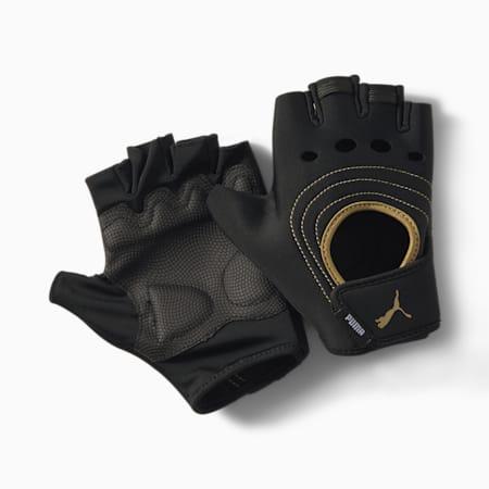 AT Shift  Training Gloves, Puma Black-Metallic Gold, small-IND