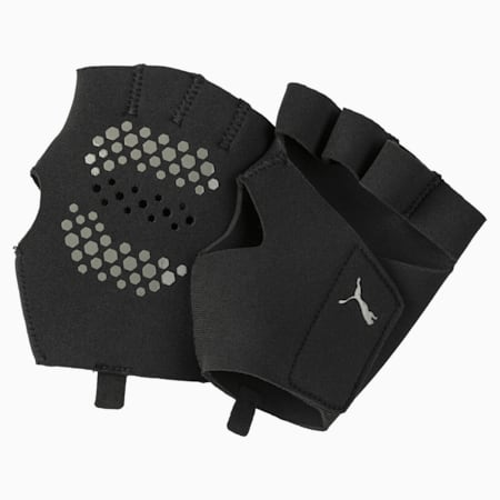 Essential Premium Grip Cut Fingered Training Gloves, Puma Black, small-IND