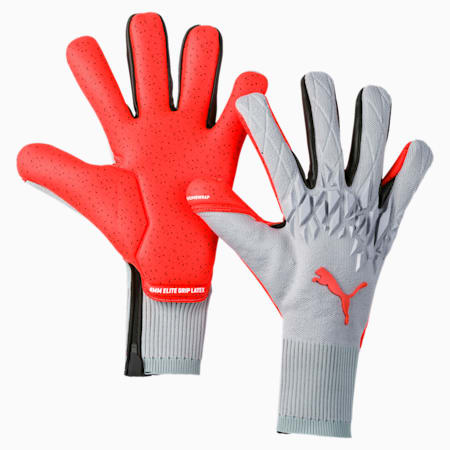 FUTURE Grip 19.1 Goalkeeper Gloves, Grey Dawn-Nrgy Red, small