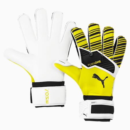 PUMA ONE Grip 1 Goalkeeper Gloves, Yellow Alert-Black-White, small
