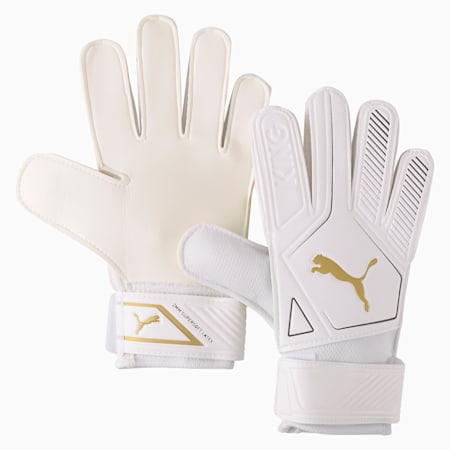 King 4 Goalkeeper Gloves, Puma White-Gold-Puma Black, small