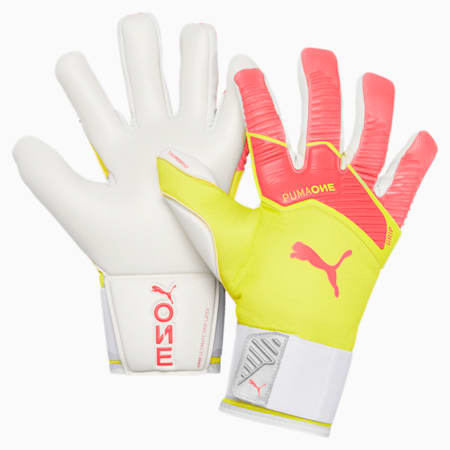 PUMA ONE Grip 1 Hybrid Pro Goalkeeper Gloves, Nrgy Peach-Fizzy Yellow, small