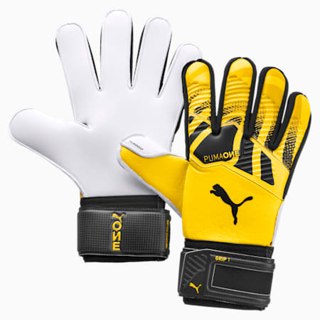 PUMA ONE Grip 1 Goalkeeper Gloves, ULTRA YELLOW-Black-White, small