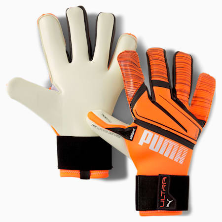PUMA ULTRA Grip 1 Hybrid Pro Goalkeeper Gloves, Shocking Orange-White-Black, small