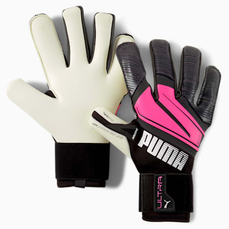 PUMA ULTRA Grip 1 Hybrid Pro Goalkeeper Gloves, Luminous Pink-Puma Black, small