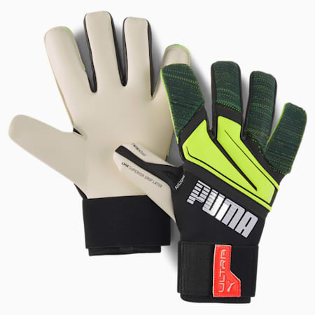 PUMA ULTRA Grip 1 Hybrid Pro Goalkeeper Gloves, Puma Black-Yellow Alert, small-GBR