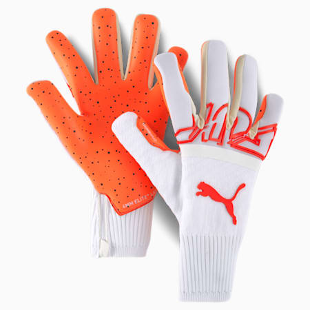 FUTURE Z Grip 1 Hybrid Goalkeeper Gloves, Puma White-Red Blast, small