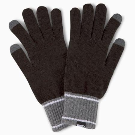 Knitted Gloves, Puma Black-Dark Gray Heather, small